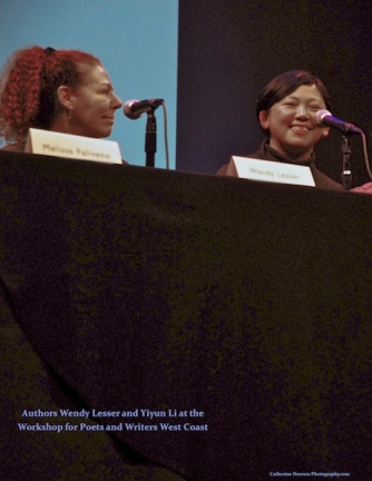 'Authors Wendy Lesser and Yiyun Li share tips for writers at the Poets & Writers Conference at Brava Theater in the Mission District of San Francisco, January 2015, photo by Catherine Herrera, Intl CR Reserved. Contact for License.