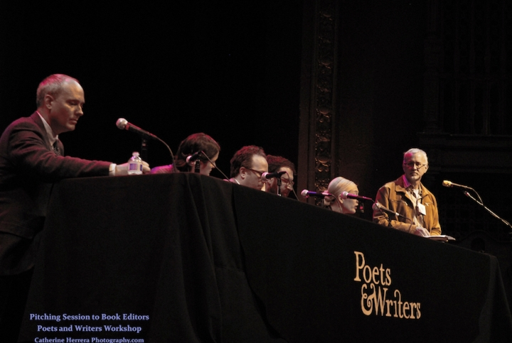 'Pitch Session for Poets & Writers Conference, Brava Theater, 2015,'photo by Catherine Herrera, Intl CR Reserved. Contact for License.